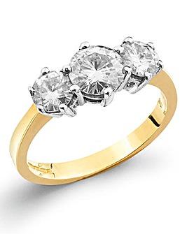 Moissanite 9 Carat Gold 2 Carat Ring