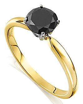 9 Carat Yellow Gold Black Solitaire Ring