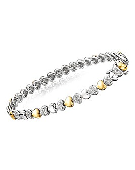 Two Tone Ladies Heart Bracelet