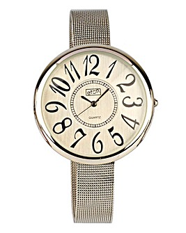 Ladies Silver-Tone Mesh Strap Watch