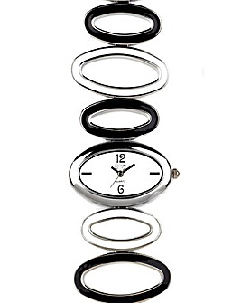 Eton Enamelled Oval Links Bracelet Watch