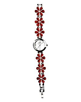 Eton Enamel Flower Link Bracelet Watch