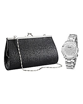 Ladies Watch & Black Evening Bag