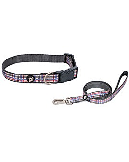 Petface Check Dog Collar And Lead Set