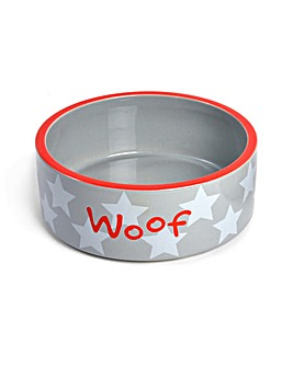 Petface White Star Woof Dog Bowl