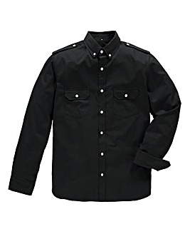 Jacamo Long Sleeve Black Military Shirt