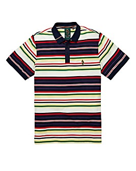 Luke Honestly Striped Dark Navy Polo Reg
