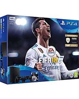 PS4 Slim 500gb Inc FIFA 18 and 2nd Cont