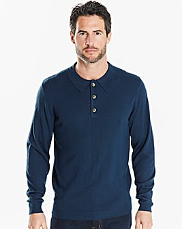 Capsule Blue Long Sleeve Knitted Polo