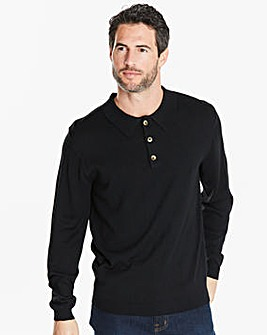 Capsule Black Long Sleeve Knitted Polo