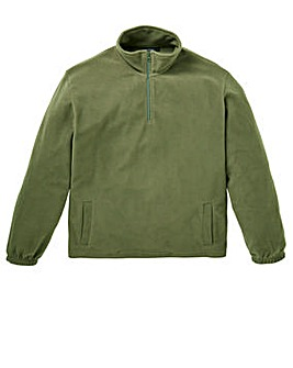 Capsule Khaki Basic Zip Neck Fleece