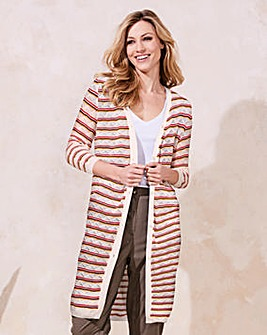 Stripe Pointelle Cardigan