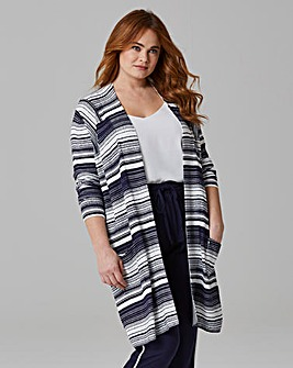 Stripe Printed Edge to Edge Cardigan