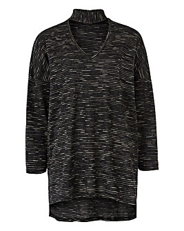 3/4 Sleeve High Neck Jumper