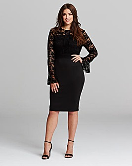 AX Paris curve Bell Sleeve Scuba Dress