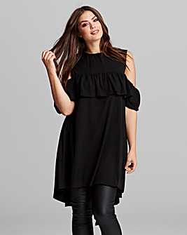 AX PARIS CURVE RUFFLE FRONT TUNIC