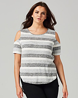 AX PARIS CURVE STRIPE DIP BACK TOP