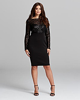 AX Paris Curve Sequin Top Midi Dress