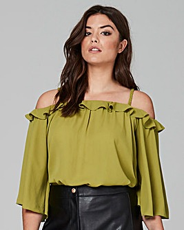 Traffic People Off Shoulder Frill Top