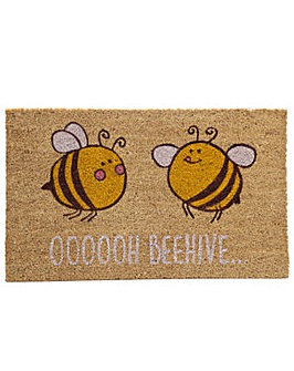 Coir Door Mat Bee Design OOOOOH BEEHIVE