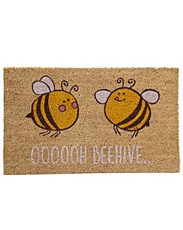 Coir Door Mat Bee Design OOOOOH BEEHIVE