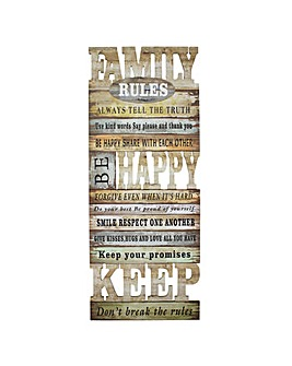 Family Rules Wooden Wall Plaque