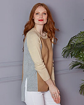 Colourblock Boucle Boxy Jumper