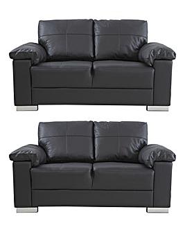 Ravel Leather 2 plus 2 seater Sofa