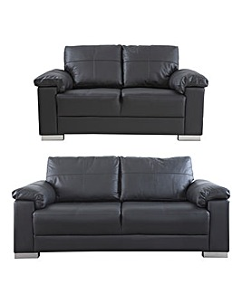Ravel Leather 3 plus 2 seater Sofa