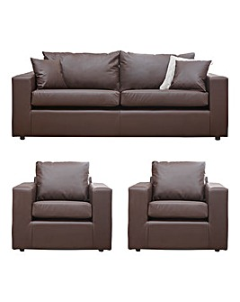 Faux Leather 3 seater sofa plus 2 chairs