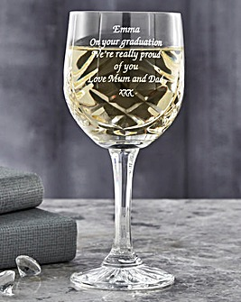Personalised Panel Cut Crystal Wine Gobl