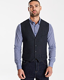 Black Label Tweed Wool Waistcoat Long