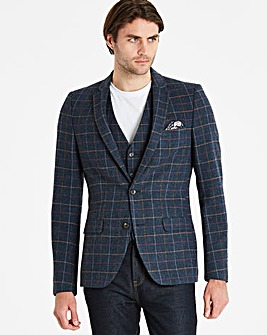 Black Label Blue Slim Checked Blazer L