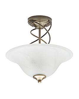 Spiral 2 Lt Ceiling Light-Antique Brass