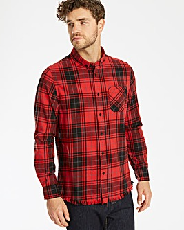 Label J LS Frayed Hem Checked Shirt Long