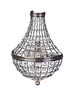 2 Lt Crystal Basket Wall Light-Ant Brass