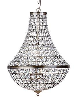 Crystal Basket Pendant Light-Ant Brass
