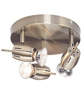 Frank Antique Brass 3 Light Spotlight