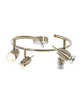 4 Light Spiral Spotlight - Antique Brass