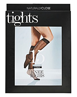 3 Pack Black Knee Highs 15 Denier