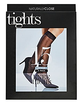 3 Pack Navy Knee Highs 15 Denier
