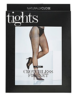 2PK Crotchless Fishnets Tights