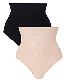 2 Pack High Waisted Medium Control Brief