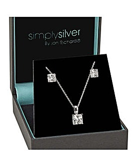 Simply Silver Princess Cut Solitaire Set