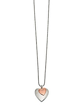 Rose Gold Silver Double Heart Necklace
