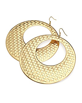 Large Textured Look Round Earring