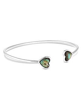 Simply Silver abalone heart bangle