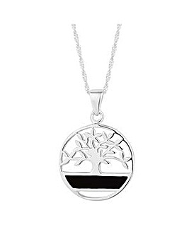 Simply Silver onyx tree of life pendant
