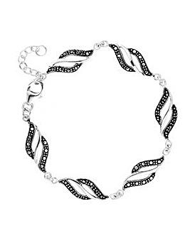 Simply Silver marcasite wave bracelet
