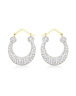 9Ct Gold Crystalique Crossover Earrings